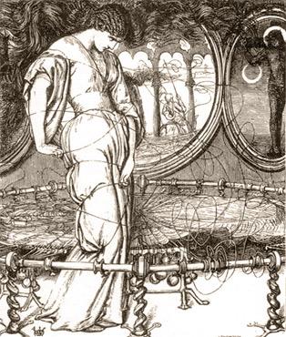 La Dame de Shalott regardant Lancelot et déclenchant la malédiction (Hunt, 1857)