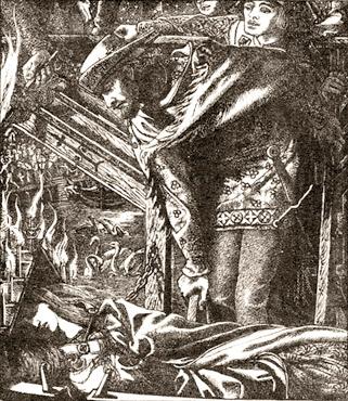 Lancelot regardant la Dame de Shalott (Rossetti, 1857)
